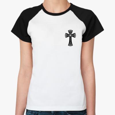 Женская футболка реглан Черный Тамплиерский крест