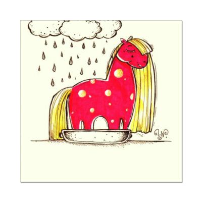 Наклейка (стикер) Купание красной коняшки
