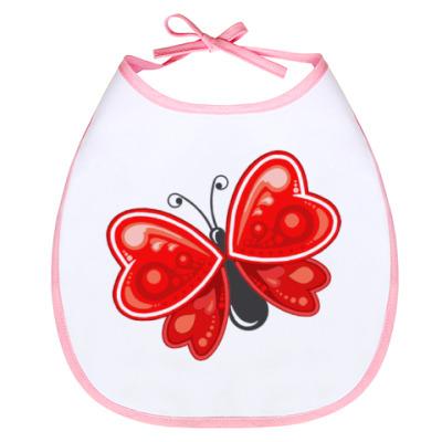 Слюнявчик Сердечная бабочка