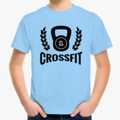 Детская футболка Кроссфит логотип с гирей
