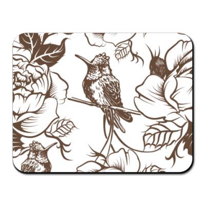Коврик для мыши колибри и цветы