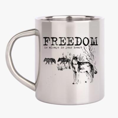 Кружка металлическая Волки. Свобода