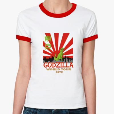 Женская футболка Ringer-T 'Годзилла 1972'
