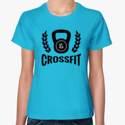 Женская футболка Кроссфит логотип с гирей