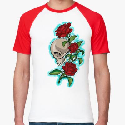 Футболка реглан череп и розы