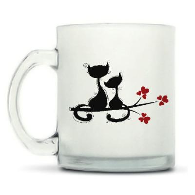 Кружка матовая Влюбленные коты