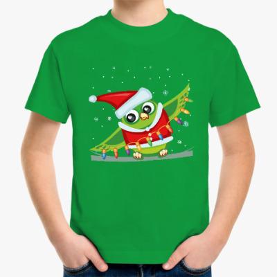 Детская футболка Сова с гирляндой