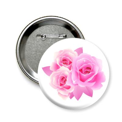 Значок 58мм Букет роз