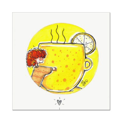 Наклейка (стикер) Желтая чашка