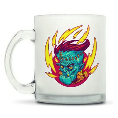 Кружка матовая Франкенштейн в огне