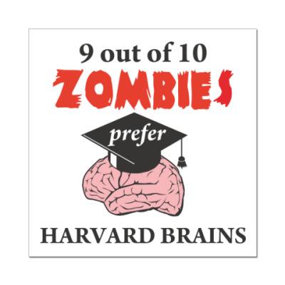 Наклейка (стикер) Harvard brains стикер