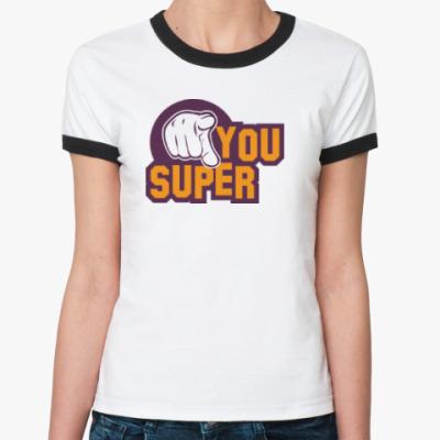 Женская футболка Ringer-T U Super