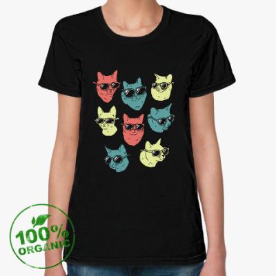 Женская футболка из органик-хлопка Коты очки