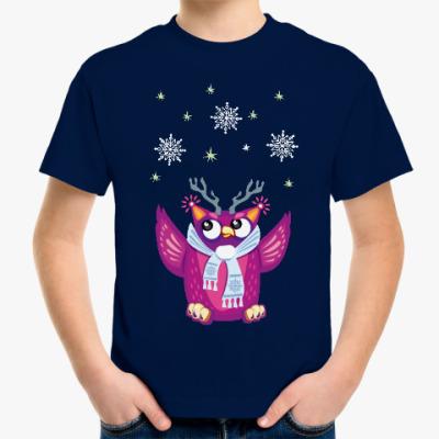 Детская футболка Сова и снежинки