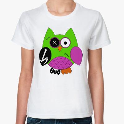 Классическая футболка Зомби сова