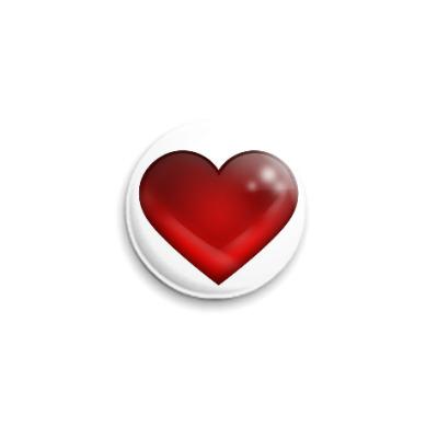 Значок 25мм Большое сердце