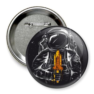 Значок 75мм Космонавт с мороженкой