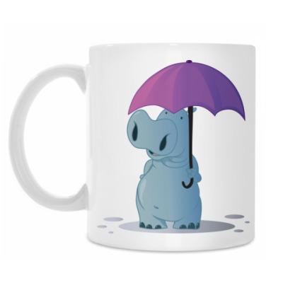 Кружка Бегемотик с зонтом