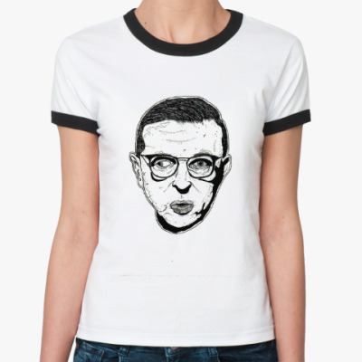Женская футболка Ringer-T Жан-Поль Сартр