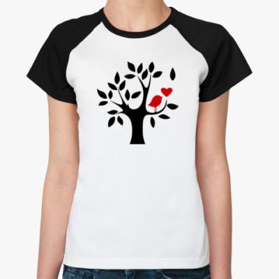 Женская футболка реглан Любовь птички