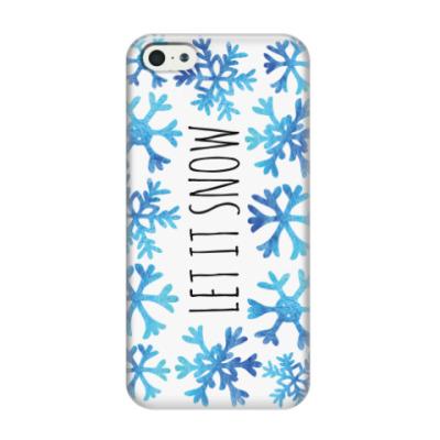 Чехол для iPhone 5/5s Let it snow/ снежинки