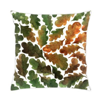 Подушка Дубовые листья паттерн