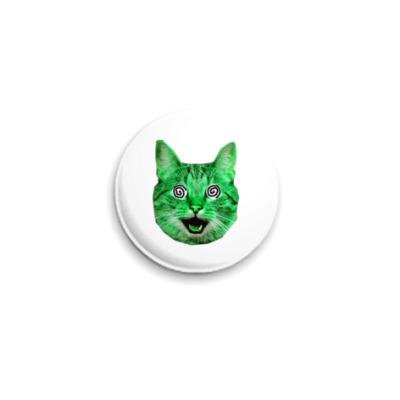 Значок 25мм  «Green cat»