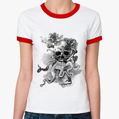 Женская футболка Ringer-T Череп-кальмар