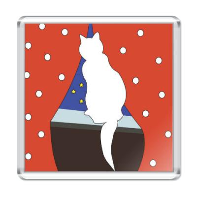 Магнит Кошка на окошке