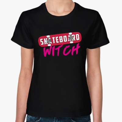 Женская футболка Ведьма скейтборда