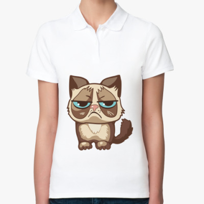 Женская рубашка поло Угрюмый кот Тард - Grumpy Cat