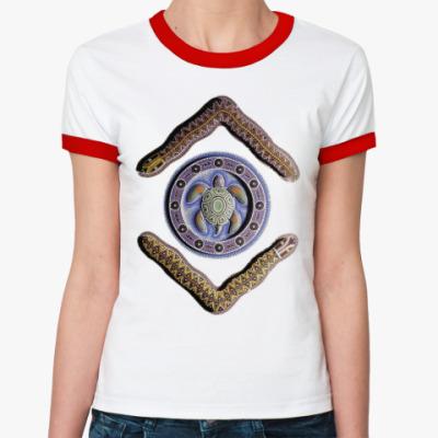 Женская футболка Ringer-T ~Черепаха и бумеранги~ женск