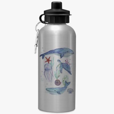 Спортивная бутылка/фляжка Акварельный подводный мир