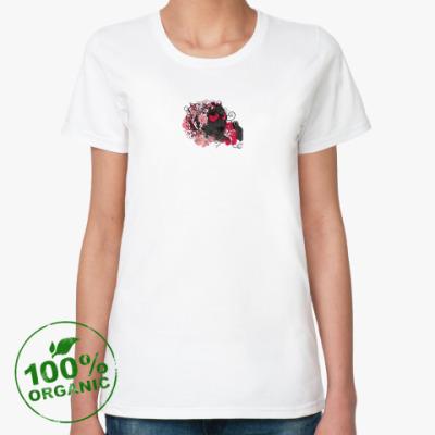Женская футболка из органик-хлопка Лицо и цветы