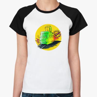 Женская футболка реглан Трамвай