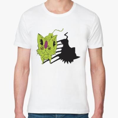 Футболка из органик-хлопка  Кот зелёный