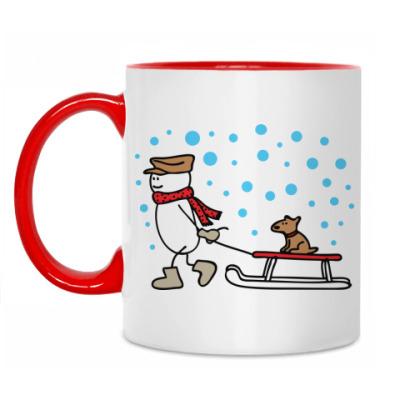 Кружка Снеговик и Собака в Новый год