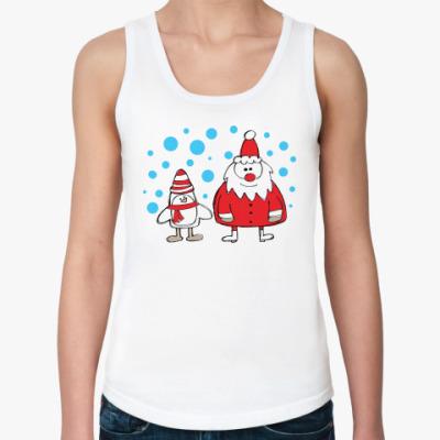 Женская майка Дед Мороз и Пингвин