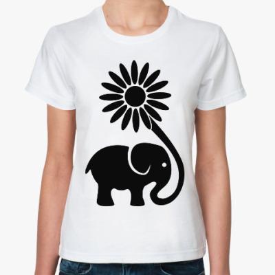 Классическая футболка Слоник и цветок