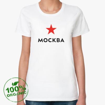 Женская футболка из органик-хлопка логотип Москвы