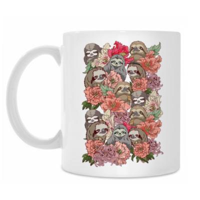 Кружка Ленивцы в цветах