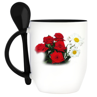 Кружка с ложкой Красивое цветение