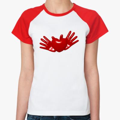 Женская футболка реглан Сердце в руках