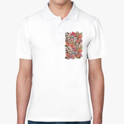 Рубашка поло Ленивцы в цветах