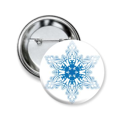 Значок 50мм Снежиночка