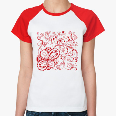Женская футболка реглан Цветы любви