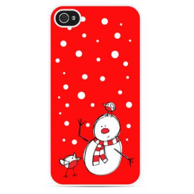 Чехол для iPhone Снеговик и снегири в Новый год