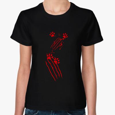 Женская футболка Нападение кота