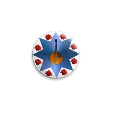 Значок 25мм  'Розы  и домра'