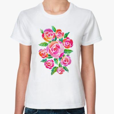 Классическая футболка Акварельные розы